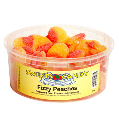 Fizzy Peaches Sugared Fruit FlavourJelly Pieces - 750g Tub