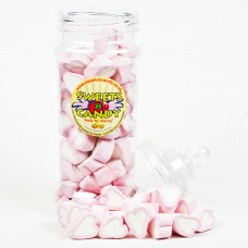 Pink and White Mallow Hearts - Large Victorian Jar (500g)