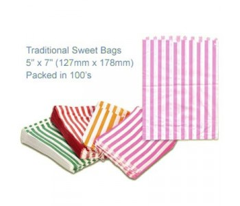 Pink Candy Striped Sweet Bags 5 x 7 - 100 Pack