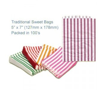 Purple Candy Striped Sweet Bags 5 x 7 - 100 Pack
