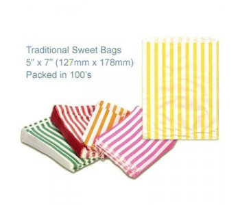 Yellow Candy Striped Sweet Bags 5 x 7 - 100 Pack