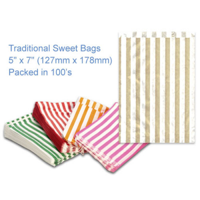 Gold Candy Striped Sweet Bags 5 x 7 - 100 Pack