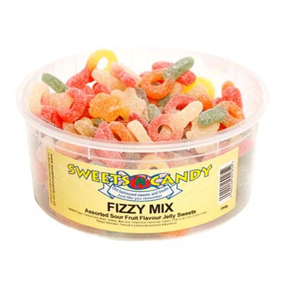 Fizzy Mix Assorted Sour Jelly sweets - 1.5 Ltr Tub -750g