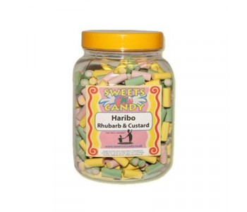 A Jar of Haribo Rhubarb & Custard Candy - 1.3Kg Jar