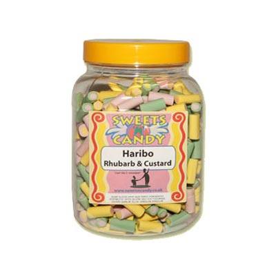 A Jar of Haribo Rhubarb & Custard Candy - 1.3Kg Jar