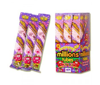 Millions Tubes Raspberry Flavour - 12 Pack