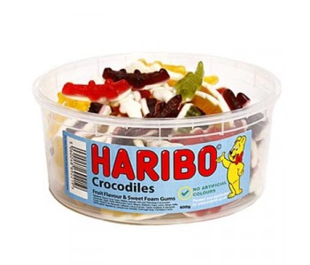 Haribo Crocodiles Fruity Foam Gums - Round Tub - 600g
