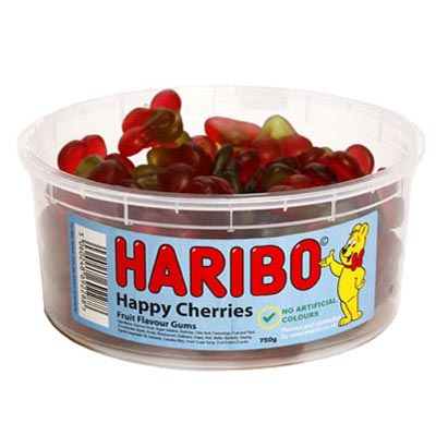 Haribo Happy Cherries - 1.5Ltr Tub - 750g