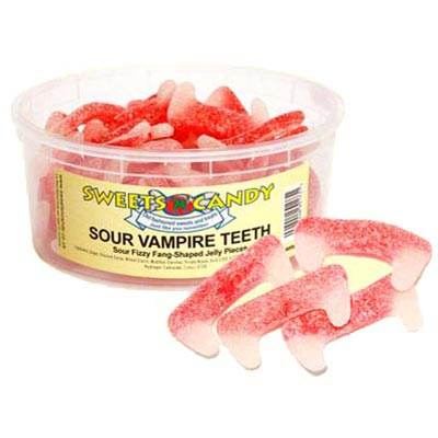 Fizzy Sour Jelly Vampire Teeth - 1.5Ltr Tub - 600g