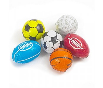 Mixed Chocolate Flavour Sports Balls, Footballs, Rugby, Golf - 3Kg Bulk Pack