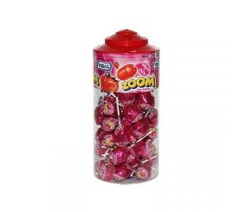 Strawberry Flavour Bubble Gum Filled lollipops - 50 Pack