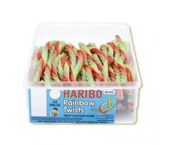 Haribo Rainbow Twists Fruit Flavoured Gums - 64 Pack