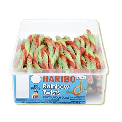 Haribo Rainbow Twists Fruit Flavoured Gums - 64 Pack