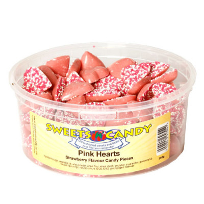 Pink Hearts Strawberry Flavour Candy Pieces - 750g Tub