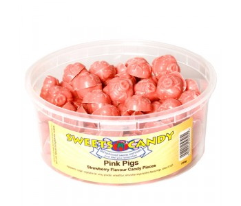 Pink Pigs Strawberry Flavour Candy Pieces - 750g Tub