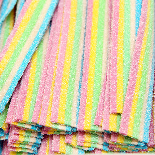 Rainbow Strips Fruit Flavour Fizzy Belts 200 Pack