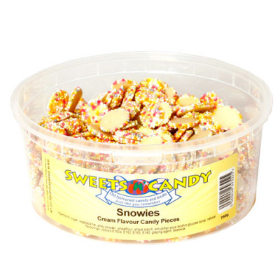 Snowies White Chocolate Flavour Candy Pieces - 750g Tub