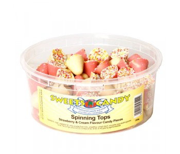 Spinning Tops Strawberry & Cream Flavour Candy Pieces - 750g Tub